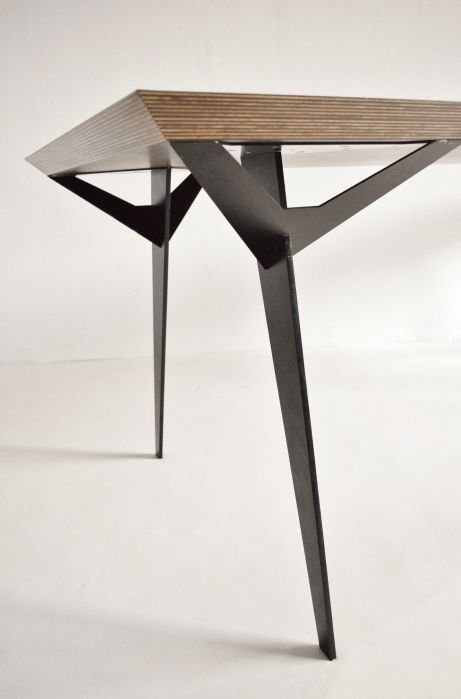 Prototype architect dining table Belgium, 1980s Impressive one-off custom made table, designed by an architect from Belgium in the late 1980s. We do not know if it was made for a client or as a prototype for wider production, but it is certainly an impressive piece. Made from a giant thick piece of Wenge plywood, with a chamfered edge, which sits on tapered splayed steel legs, which branch at the top to join the table top. L240 D84 H76cm