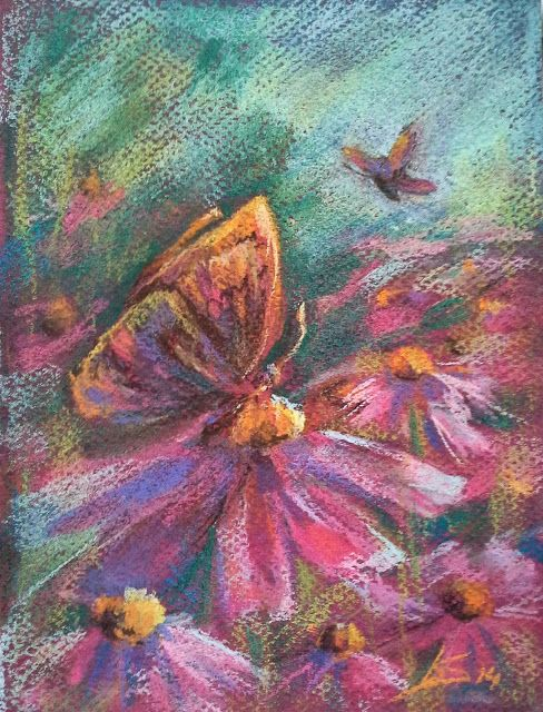 Original Pastel Painting: Summer butterfly by LS