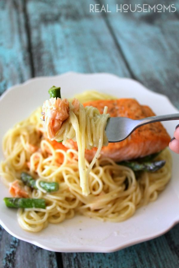 You don't want to pass on this out-of-this-world Salmon with Angel Hair Pasta #recipe.
