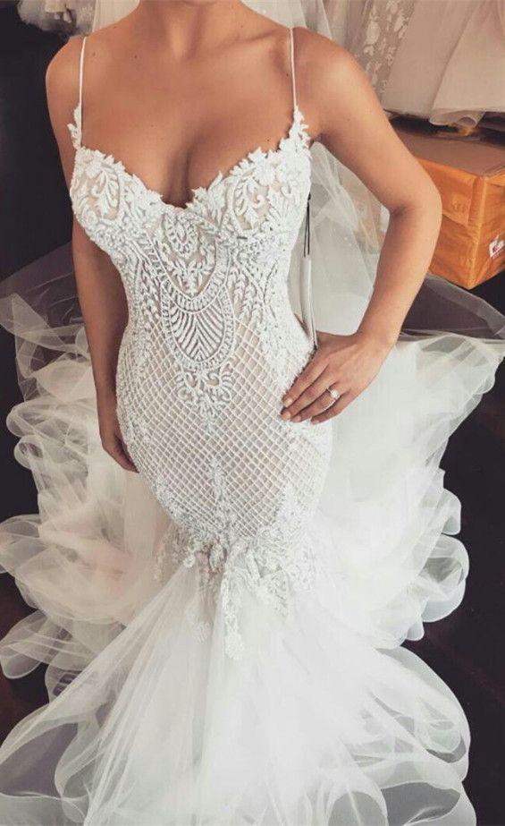 Gorgeous V-Neck Lace Wedding Dresses | Tulle Mermaid 2019 Bridal Gowns Item Code: WA0740
