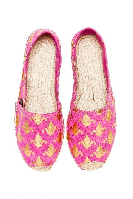 Penelope Chilvers Gold fleurs-de-lis inject a quirky heritage accent to this luxurious leather pair.