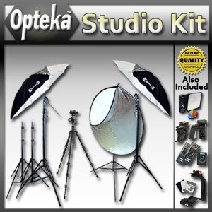 """Extreme Portrait Studio Starter's Kit by Opteka Package Includes 2 x 45-inch Lighting Umbrella kits, 43"""" Collapsible Reflector Kit, 54"""" Heavy Duty Tripod, Wireless Flash Trigger and Much More for Canon EOS Digital Rebel XT, XTi, XS, XSi, T1i, T2i T3, T3i & 60D Digital SLR Cameras (Electronics) http://www.rereq.com/prod.php?p=B004W40UPK B004W40UPK"""