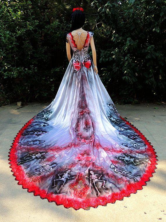 Deluxe Sugar Skull Dia de los Muertos Bride or Spanish Dancer Costume by GraveyardShift13