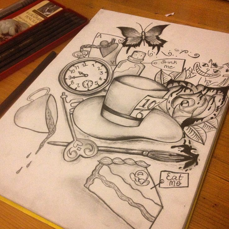 Alice in wonderland drawing