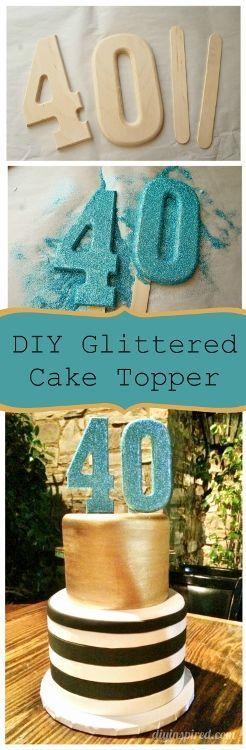 DIY Glittered Number Cake Topper