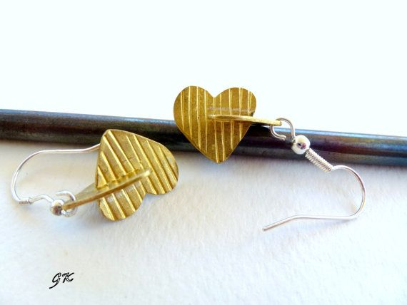 Double Hearts  Brass  Earrings by GeorgiaCollection on Etsy, €21.00
