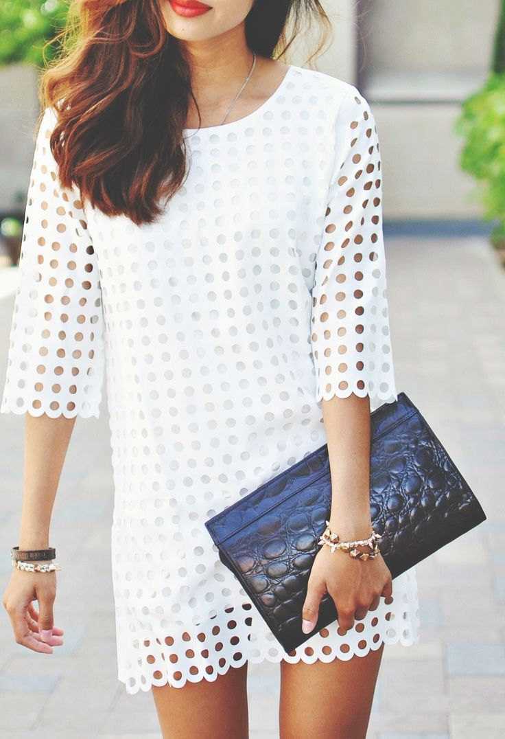 Stylish White Dress with cutout