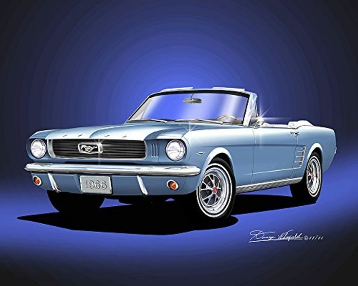 1966 MUSTANG GT CONVERTIBILE- SILVER BLUE- ART PRINT POSTER BY ARTIST DANNY WHITFIELD -- Awesome products selected by Anna Churchill