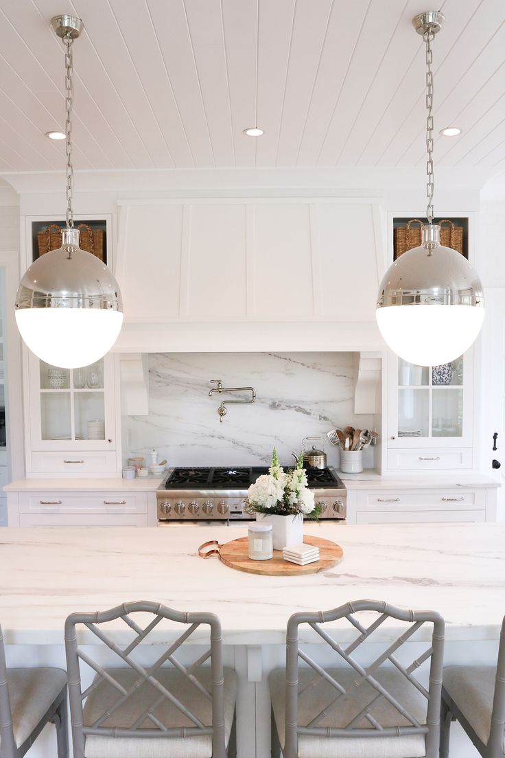 Kitchen inspiration via Monika Hibbs | Hicks Extra Large Pendants by Thomas O'Brien in Polished Nickel | Available at circalighting.com