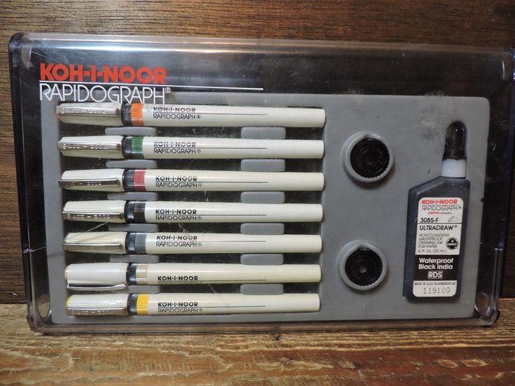 Vintage 7 Pen Koh-I-Noor Rapidgraph Technical Pen Set with Ink and Nib Keys USA #KohINoor