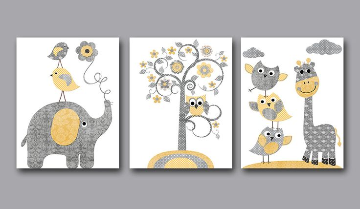 Baby Boy Nursery art print Childrens Wall Art Baby Room Decor Kids Print set of 3 elephant giraffe tree owl yellow gray baby art print playroom art print decor   1019 1022 1023  To return to my shop, click here: http://www.etsy.com/shop/artbynataera  *** UNFRAMED - THIS PRINT IS ON PAPER OR ON CANVAS ***  Set of 3 print in inches . Theres an extra 1/8 in. white border around the print to ease framing.IMPORTANT: This is a print made on matte photo paper that will need to be framed. ● SIZE FOR…