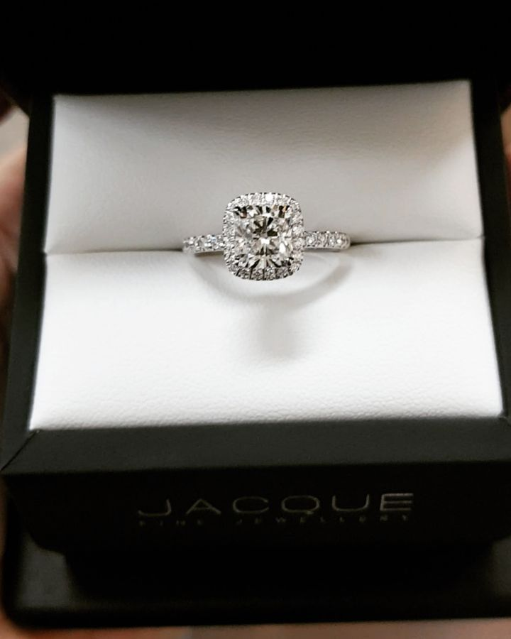 "2,170 Likes, 302 Comments - Diamond Engagement Rings (@jacquefinejewellery) on Instagram: ""❤ AMAZING ❤ We made this 1.20ct cushion cut look HUGE in this double halo gorgeously made ring.…"" #haloring"