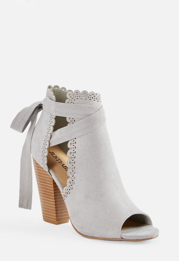 22eedfc6c Just For Fun Open Toe Ankle Tie Heeled Sandal in Gray - Get great deals at  JustFab