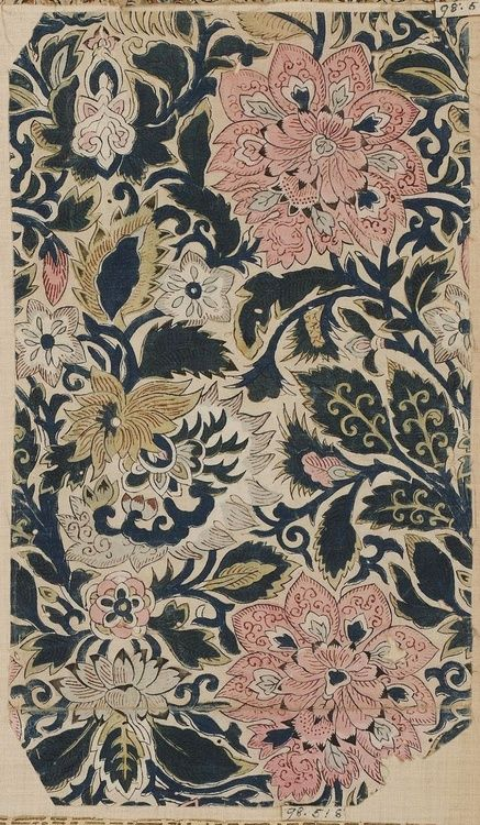 Japanese Textile | Navy, Rose and Soft Gold Heavy Floral Pattern