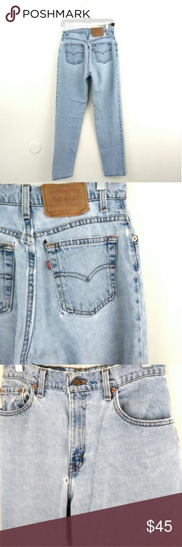 """Vintage High Waist Distressed Levi Jeans IM ACCEPTING OFFERS !!!  High Waist 27"""" - 28"""" Hip 39"""" - 40"""" Rise 14"""" - 15"""" Inseam 31"""" -32"""" No Stretch These are more a size 4  These have normal wear and is naturally distressed over the years, these have Distressed wear and small holes shown in picture. These date back to 1999. There are beautiful and has a very good fit, very comfy.  I Ship Monday/Wednesday/Friday Levi's Jeans"""