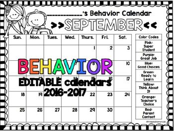 This FREE & EDITABLE download includes 12 behavior calendars for the 2016-2017 school year. These calendars contain a behavior ladder on the right as an easy reminder to parents and students of your expectations!