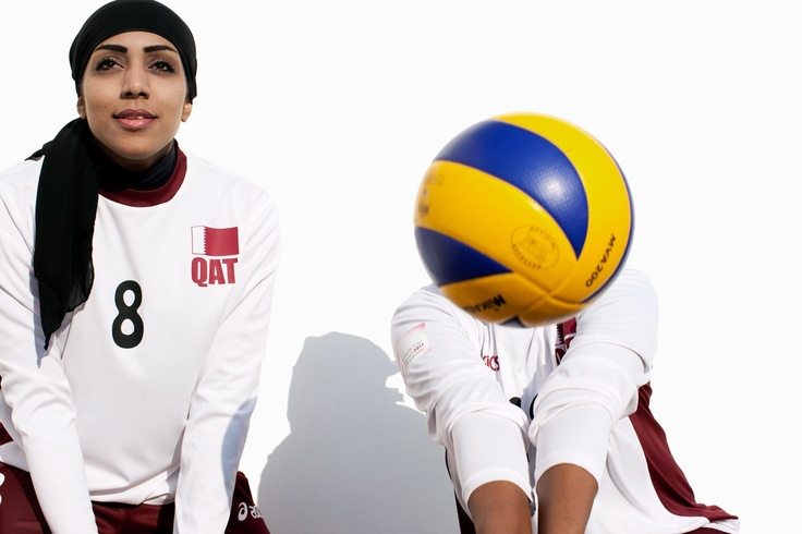 Qatari Women's Volleyball Team.  As the Olympics Approach, Brigitte Lacombe's Stunning Portraits of Arab Lady Athletes | Blogs | Vanity Fair