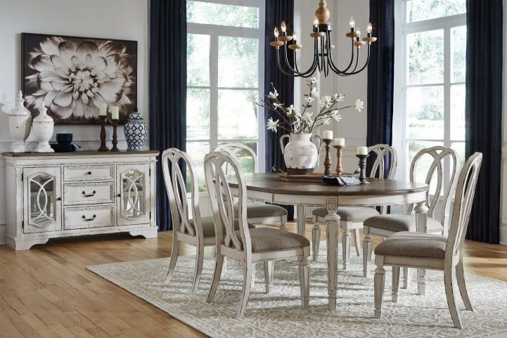 Realyn White Oval Extendable Dining Room Set In 2020 Dining Room