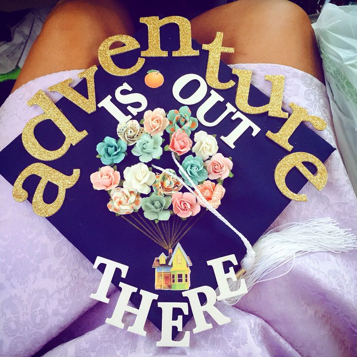 Adventure is out there. Syracuse university alpha gamma delta graduation cap decorated