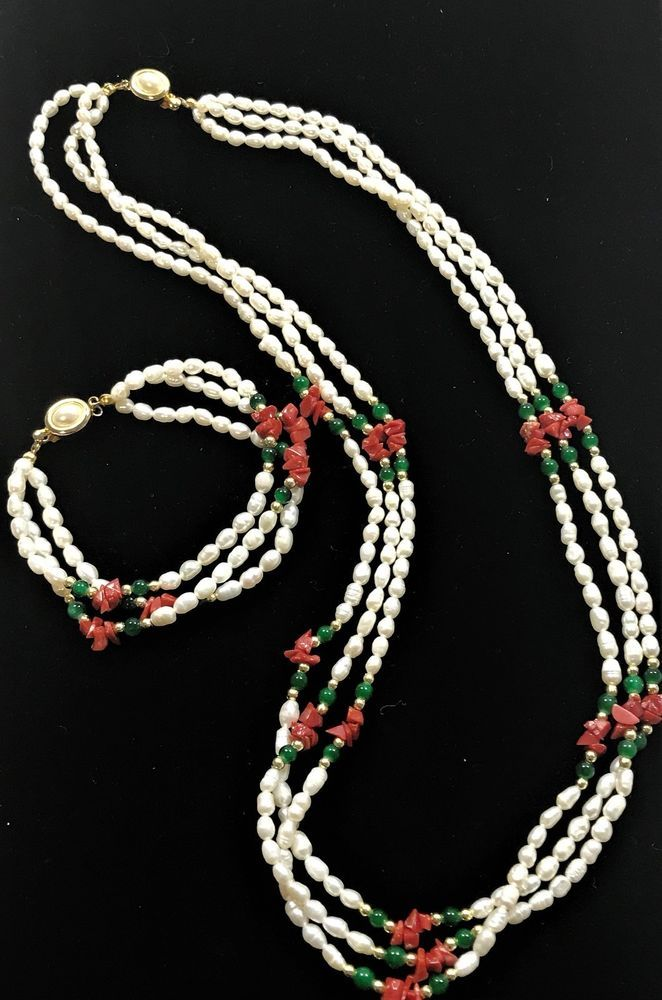 Fresh Water Pearl Coral Green Onyx 14K Gold Fill Necklace & Bracelet Set | Jewelry & Watches, Fine Jewelry, Fine Jewelry Sets | eBay!