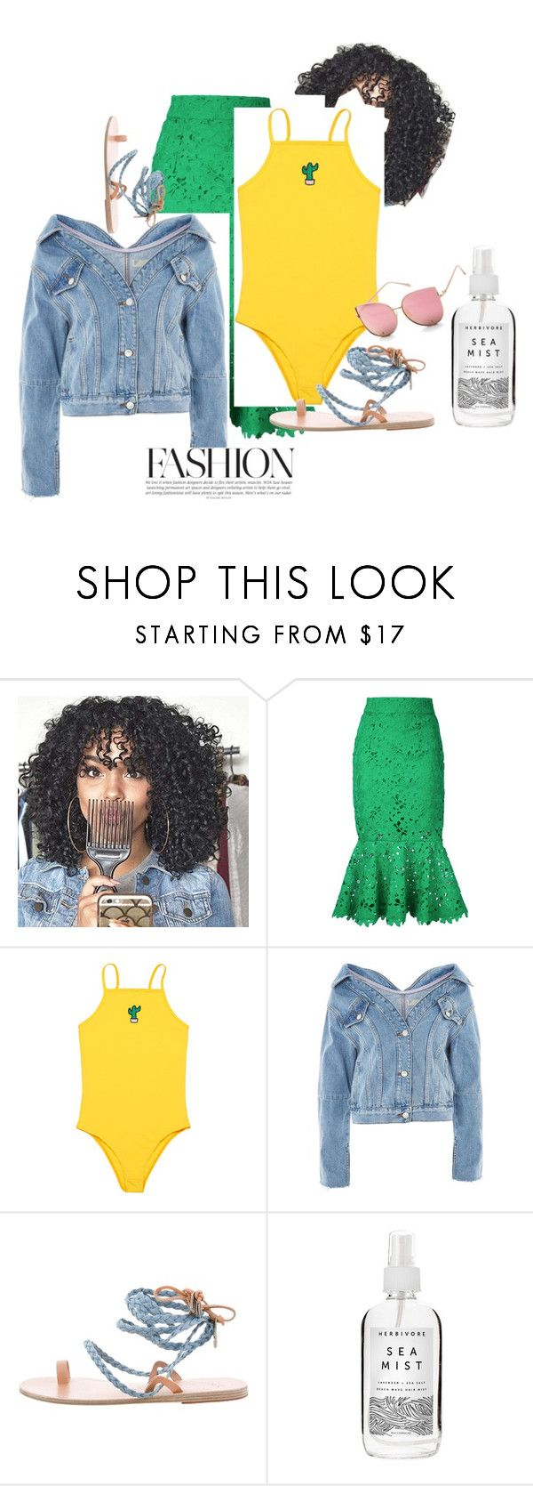 """Cactus 🌵"" by naturallydee ❤ liked on Polyvore featuring Bambah, Topshop, Ancient Greek Sandals and Herbivore"