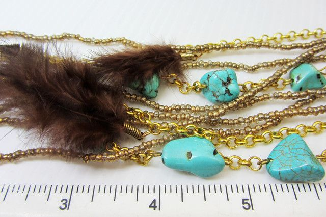 TURQOUISE FEATHER STYLE NECKLACE QT176