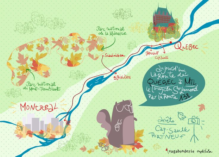 Québec > Montréal www.vagabonderie.com quebec map roadtrip illustration