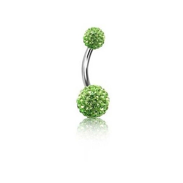 Bling Jewelry Peridot Color Crystal 316L Steel Belly Ring Shamballa... ($13) ❤ liked on Polyvore featuring jewelry, green, crystal ball jewelry, steel jewelry, green jewelry, steel body jewelry and body jewellery