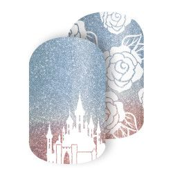 Aurora's Castle | Disney Collection by Jamberry This whimsical wrap, inspired by Disney Princess Aurora's stately castle against hues of pink and blue, makes for a dreamy mani.