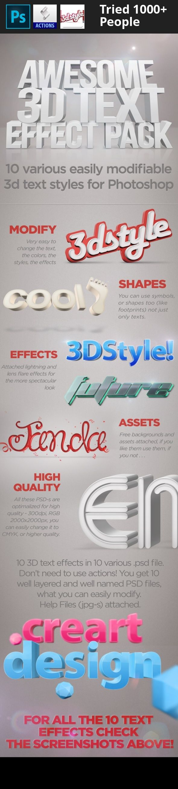 3d, 3d effect, 3d text style, colorful, creartdesign, depth, easy, envato, font, fx, grey, item, object, perspective, photoshop, realistic, red, screenshot, shadow, smart, style, text, text fx, text style, type, typography, wallpaper Watch our Video Presentation Video Presentation 3d Text Effects For Photoshop Put your text realistic and glamorize it with this 3D font style pack! This pack contains 10 different, well-named, well layered PSD file, for all the 3D text styles to one each. In…