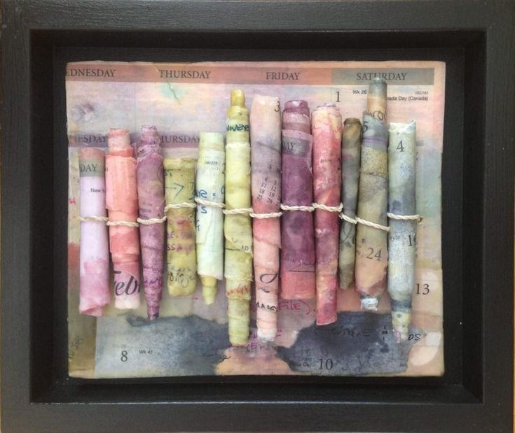 Encaustic Scrolls with Calendar pages by Ruth Maude