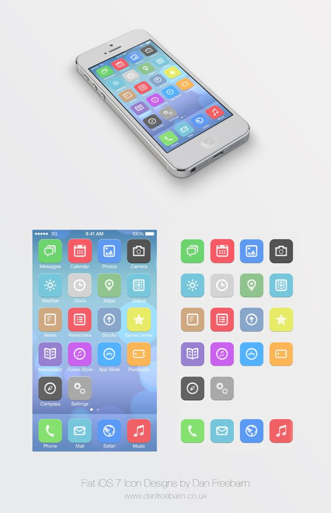 Flat IOS 7 Icon Designs By Dan Freebairn