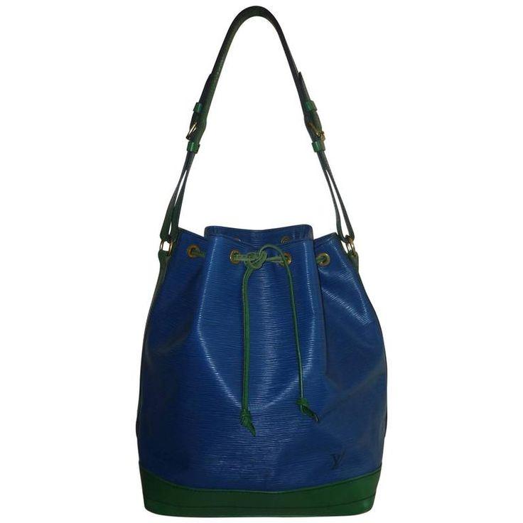 1994 Louis Vuitton Large Noe Blue and Green Epi Leather Bucket Handbag VI0942