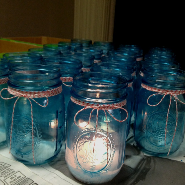 Candles for boardwalk theme wedding.