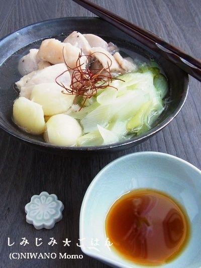 材料3つ * 塩鶏とホクホクにんにくのおかず鍋