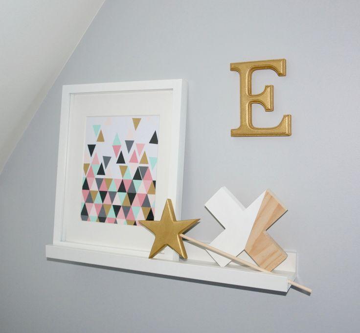 Décoration murale pour chambre de filles   Étoile et croix en bois par Peeko Kids!
