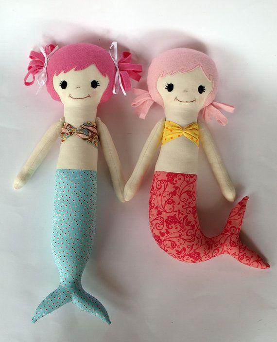Cute doll pattern. Mermaid, soft doll, PDF Sewing Pattern Direct Download - 'Mali & Mindi' #handmadedolls #sewingpattern
