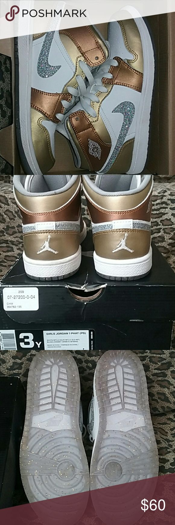 Girls tennis shoes Copper, gold, white, sparkly check, glittery bottoms Jordan Shoes Sneakers