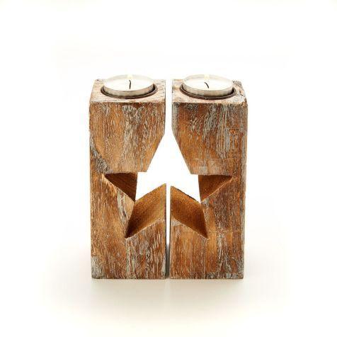 Teelichthalter-Set Stern, 2-tlg., Holz ca. B6xH15 cm Vorderansicht