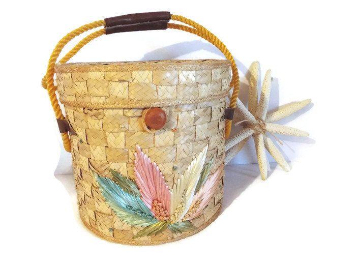Is it a Handbag?  Picnic Basket? Market Tote?  Storage Basket? Vintage handcrafted Round Straw Bag/ Picnic Basket/ Tote/ Storage Bucket/ 1960s/ Tropical Accessory Decor/ Collectible gift under 40 by JJsBottega on Etsy