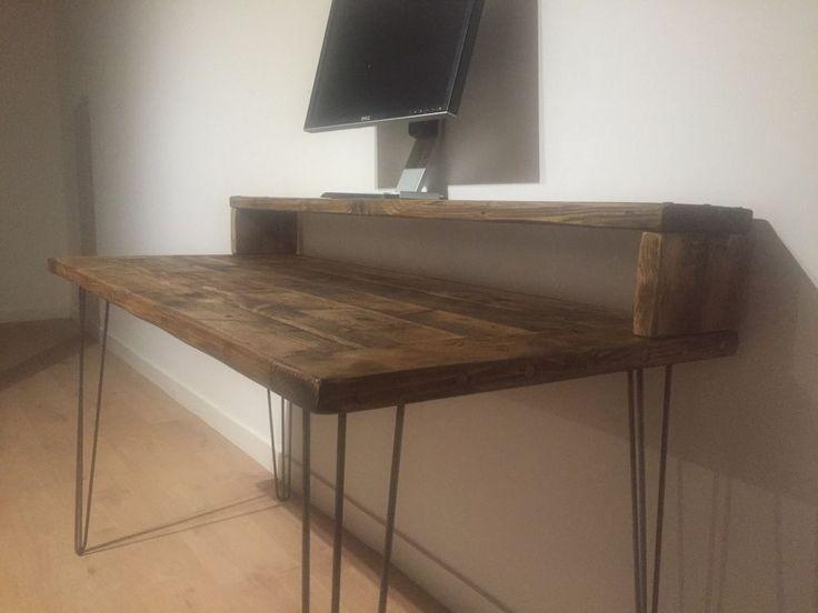 Reclaimed Pine Desk & Monitor Stand Solid Wood Metal Hairpin Legs in Home, Furniture & DIY, Furniture, Desks & Computer Furniture | eBay