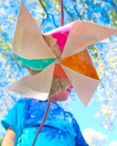 Pinwheel made from a watercolor painting and a fallen tree twig