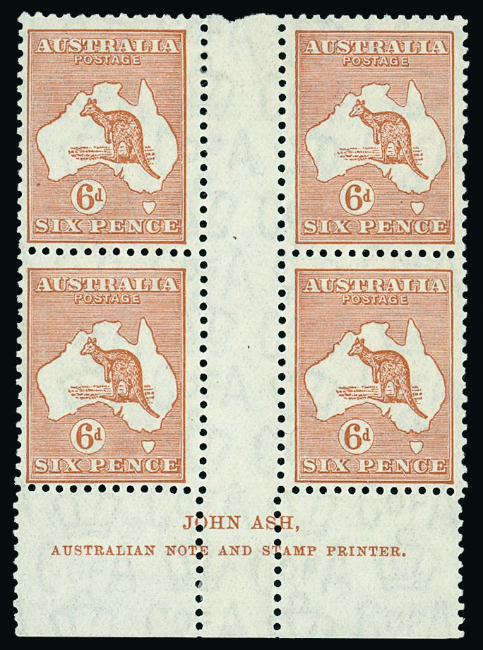 Australia: 1931-36 Multiple Crown C of A Watermark, 6d. chestnut in fine mint Ash imprint block of four, the upper left unit displaying 'white hairline from value to map'. A.C.S.C. 23z(f), S.G. 132.