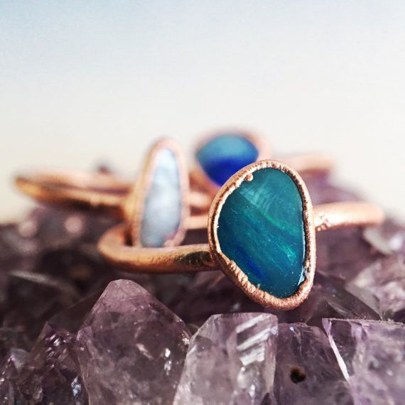 Blue Boulder Opal Ring | Raw Stone Ring A hand selected Blue Boulder opal has been electroformed onto a pure copper band. Each ring is completely unique, just like you are. For this reason allow for d
