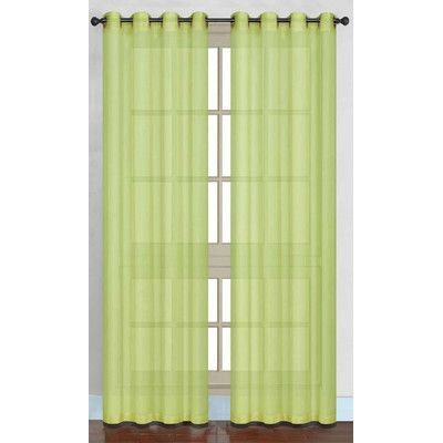 Daniels Bath Juliet Sheer Curtain Panels Color: Lime Green