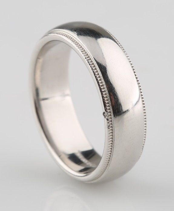 tiffany co mens platinum milgrain wedding band ring 6mm size 75 retired piece tiffanyco - Man Wedding Rings