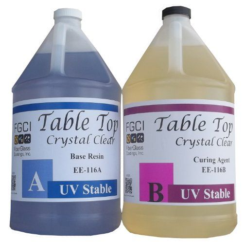 Epoxy Table Top Resin, 1:1, 2 Gallon Kit, Crystal Clear, Parts A & B Included Fiberglass Coatings