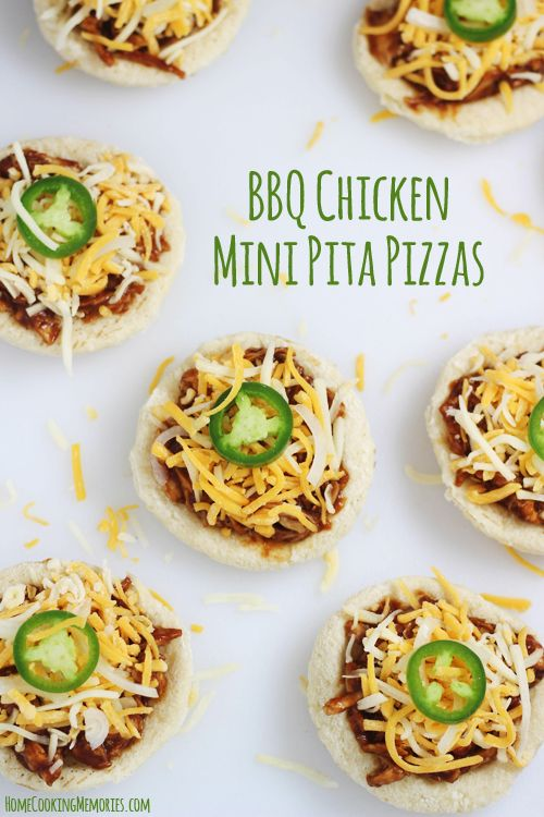 BBQ Chicken Mini Pita Pizzas << not keen on the BBQ chicken, but would definitely use the pita for another pizza idea.