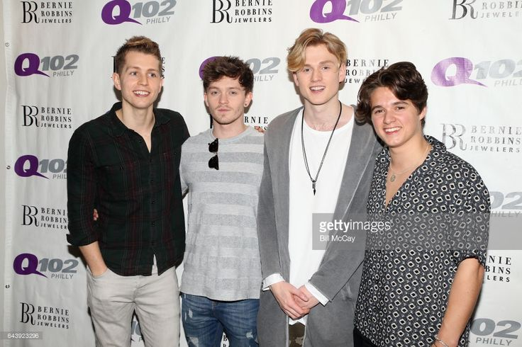 James McVey, Connor Ball, Tristan Evans and Brad Simpson of The Vamps pose at Q102 Performance Theater February 22, 2017 in Bala Cynwyd, Pennsylvania.