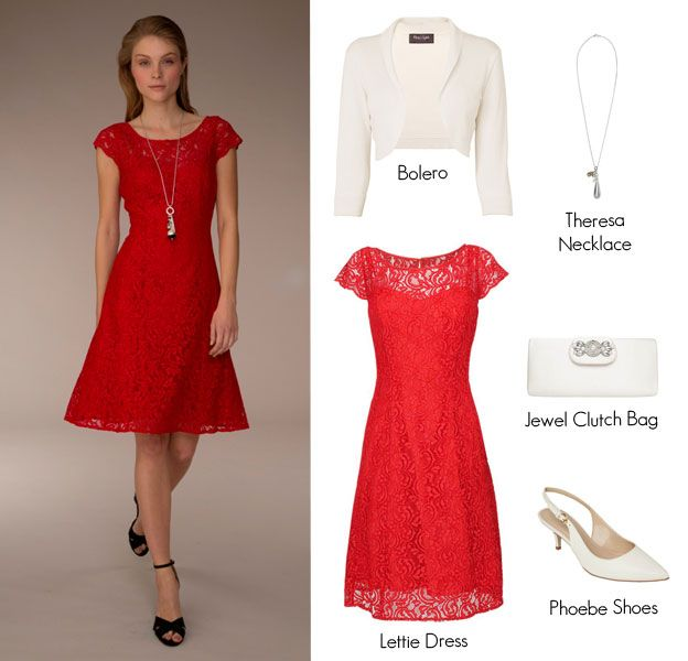 Garden Party Outfits:If it's a more sophisticated summer affair such as a woodland or outdoor wedding you are attending this Lettie Lace Dress in a sizzling red shade ticks all the boxes for gorgeous summer style